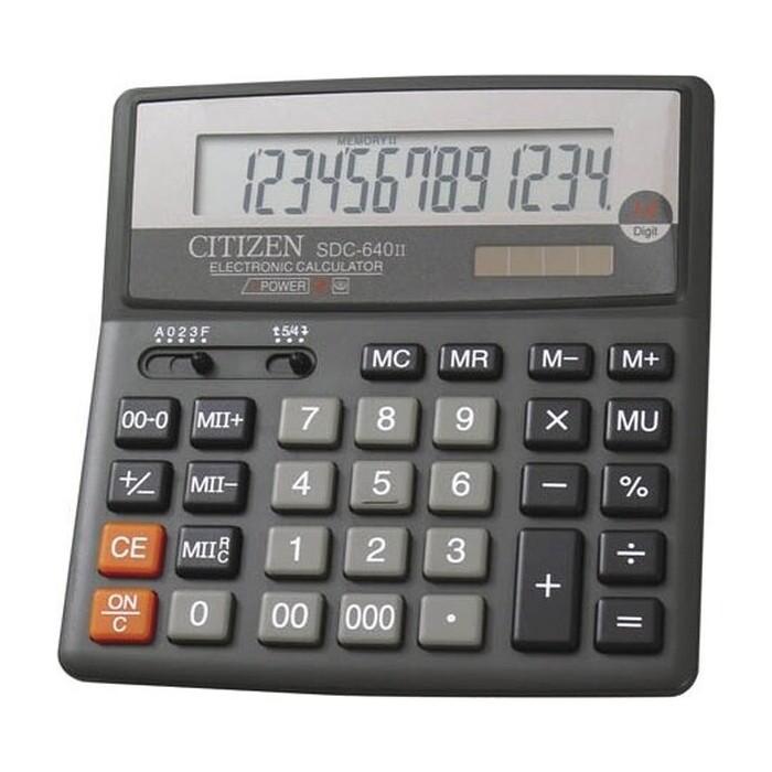 Калькулятор бухгалтерский Citizen SDC-640 II черный 14-разр.