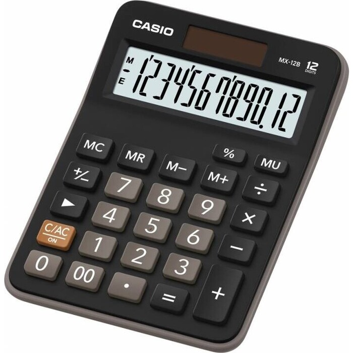 Калькулятор настольный Casio MX-12B черный/коричневый 12-разр.