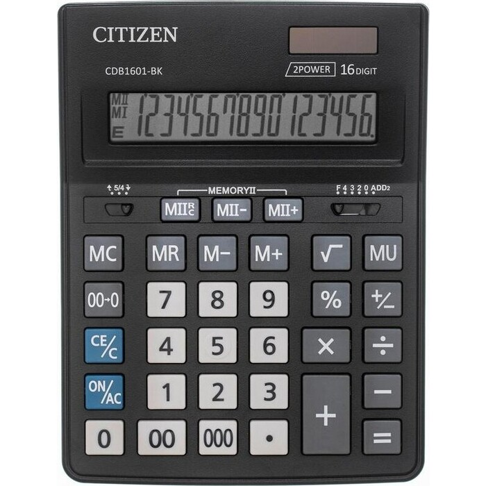 Калькулятор настольный Citizen CDB1601BK черный 16-разр.