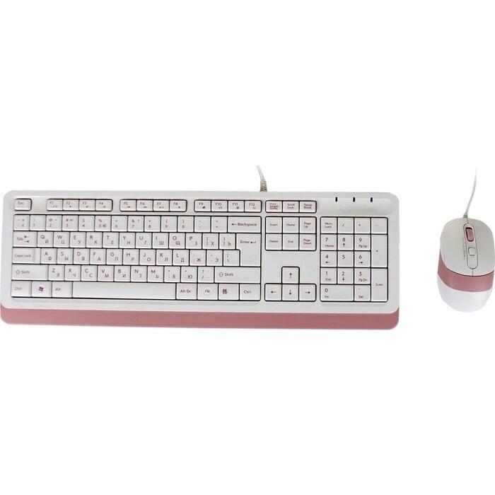 Комплект клавиатура и мышь A4Tech Fstyler F1010 клав-белый/розовый мышь-белый/розовый USB Multimedia недорого