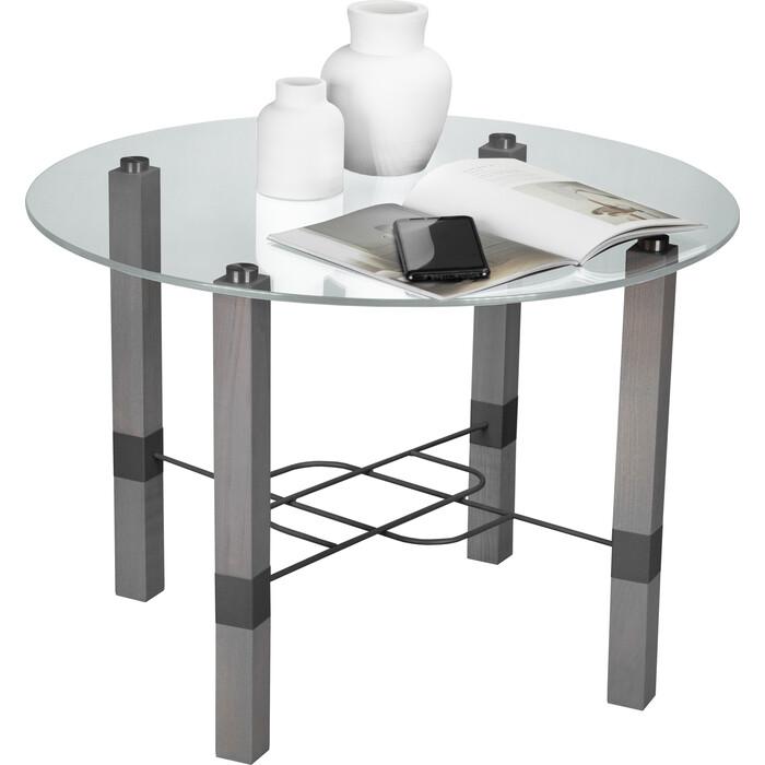 Стол журнальный Мебелик Лючия 3101 серый бетон/серый/прозрачное