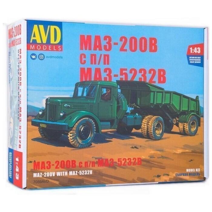 Сборная модель AVD Models МАЗ-200В с полуприцепом МАЗ-5232В, масштаб 1:43