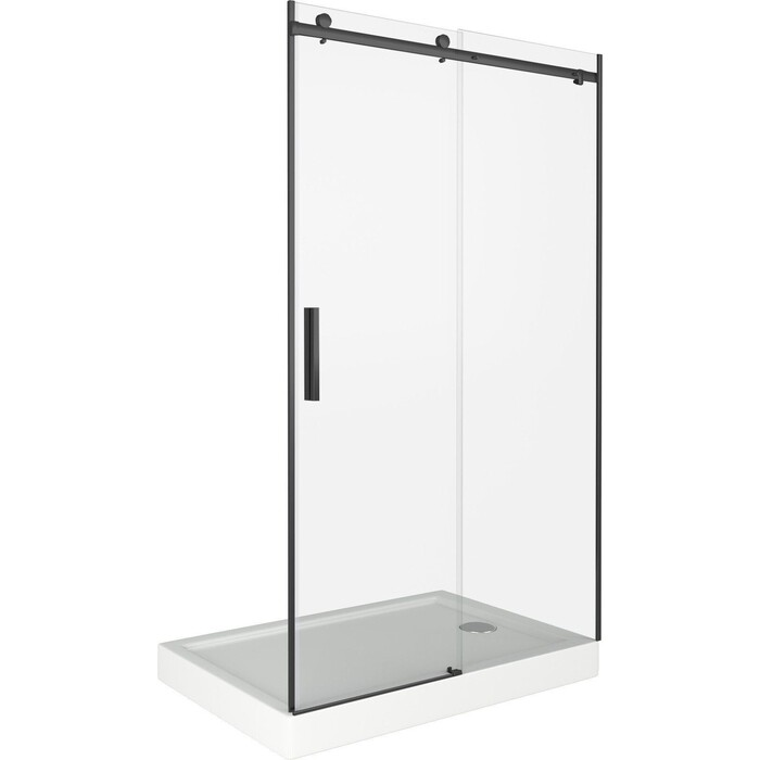 Душевая дверь Good Door Galaxy 130 стекло прозрачное, профиль черный (WTW-130-C-B)