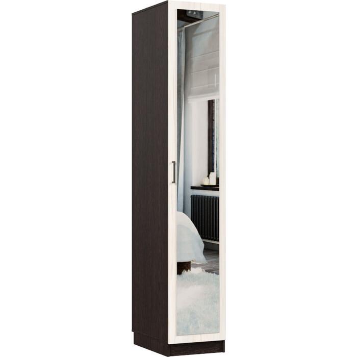 Распашной шкаф Классика 410 фасад зеркальный ЛДСП (каркас венге, каттхульт) 410.400.2200.450.06.03