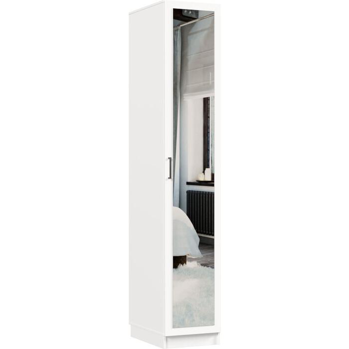Распашной шкаф Классика 412 фасад зеркальный ЛДСП (каркас белый, белый) 412.400.2200.600.07.07