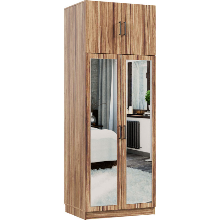 Распашной шкаф Классика 822 фасад зеркальный ЛДСП (каркас инди эбони, фасад инди эбони) 822.800.2400.450.09.09