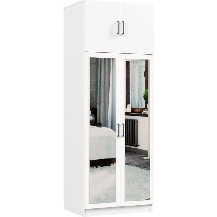 Распашной шкаф Классика 822 фасад зеркальный ЛДСП (каркас белый, фасад белый) 822.800.2400.450.07.07