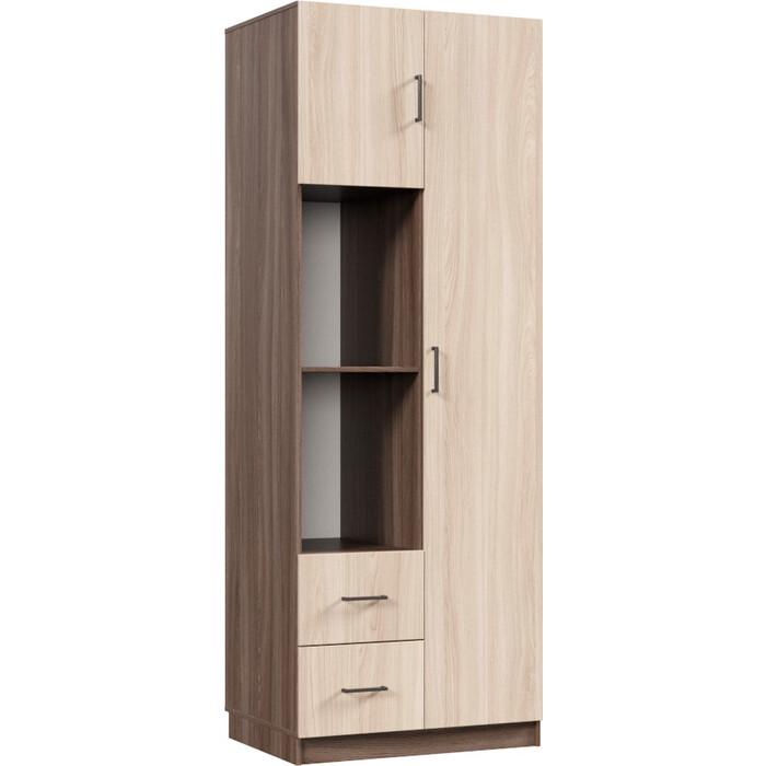 Распашной шкаф Классика 882 фасад ЛДСП (каркас ясень шимо темный, фасад ясень шимо светлый) 882.800.2200.450.02.01