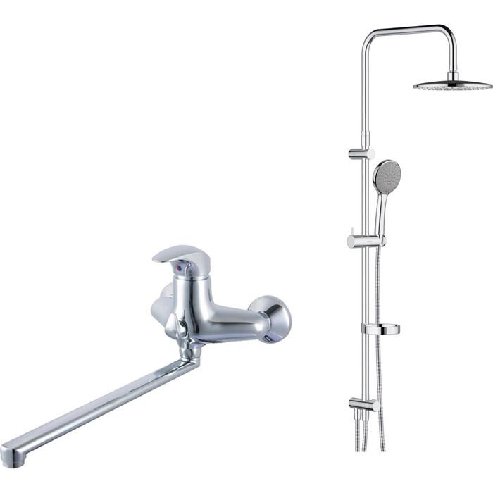 Смеситель для ванны Damixa Space длинный излив, с верхним душем, хром