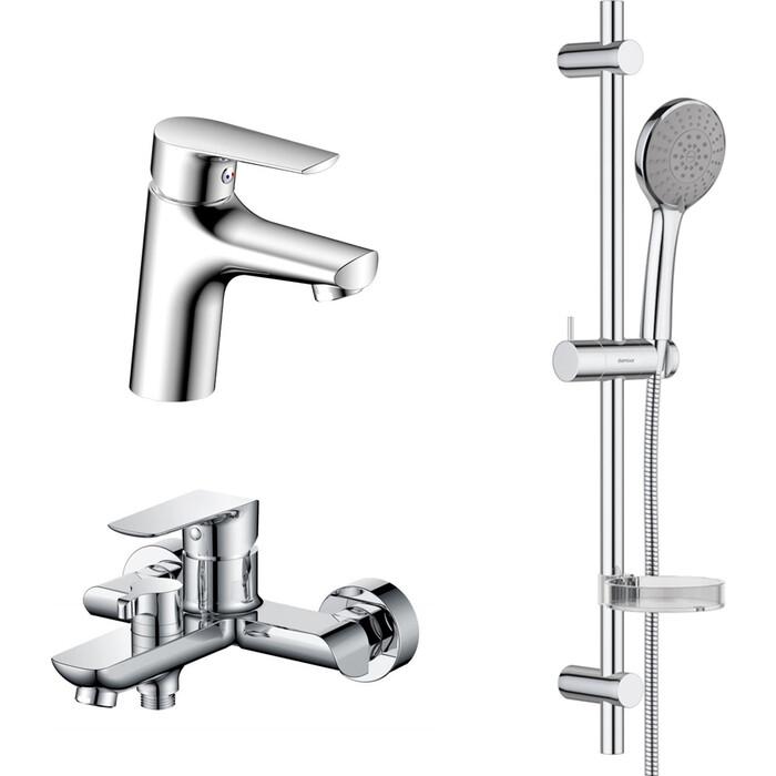 Комплект смесителей RedBlu by Damixa Origin Balance для раковины, ванны, душевой гарнитур, хром