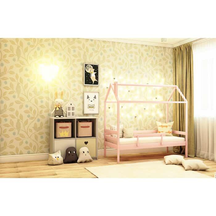Кровать RooRoom Домик со съемным бортиком (цвет розовый) спальное место 160х80