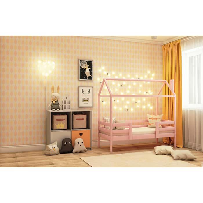 Кровать RooRoom Домик с двумя ограничителями (цвет розовый) спальное место 160х80