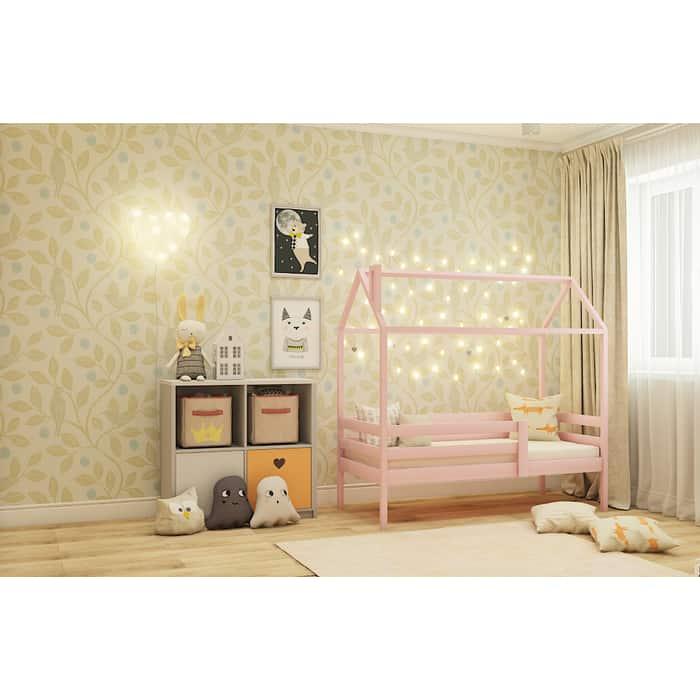 Кровать RooRoom Домик с ограничителем (цвет розовый) спальное место 160х80