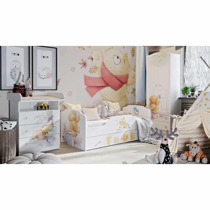 Набор детской мебели ТриЯ Тедди №1 белый с рисунком