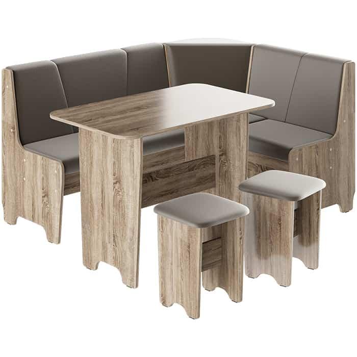 Кухонный уголок ТриЯ Техас исполнение 1 дуб сонома трюфель/экокожа коричневая стол обеденный трия ливерпуль тип 1 дуб сонома трюфель металлик