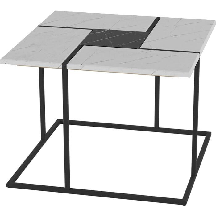 Стол журнальный Калифорния мебель Калифорния белый мрамор/черный мрамор
