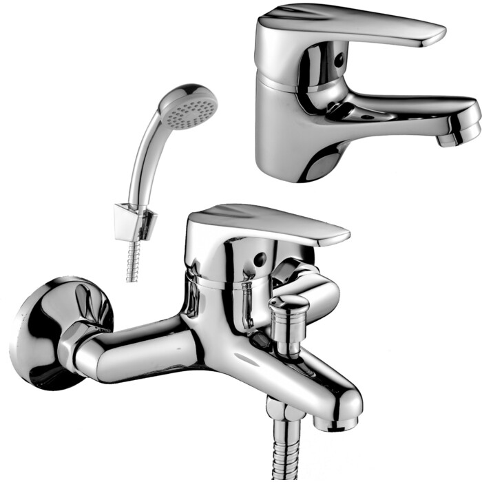 Комплект смесителей Rossinka Silvermix для раковины и ванны, с душем, хром (D40-31, D40-11)