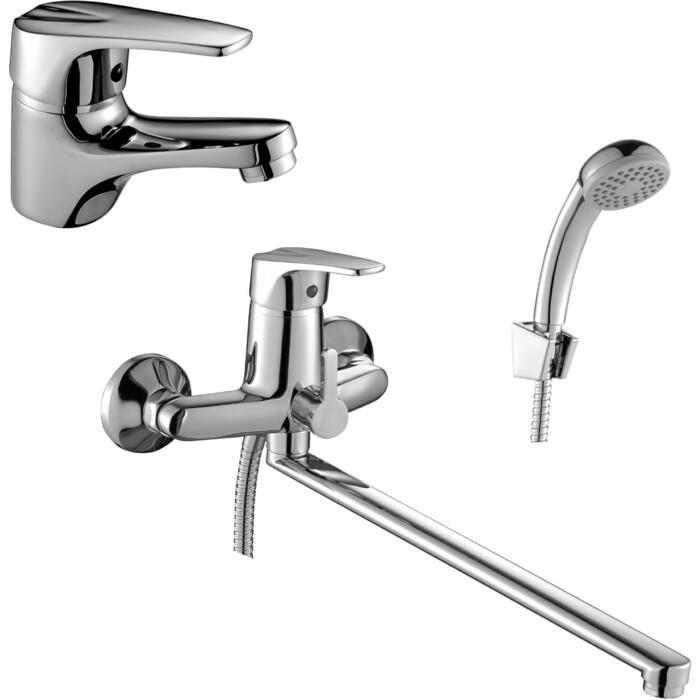 Комплект смесителей Rossinka Silvermix для раковины и ванны, с душем, хром (D40-32, D40-11)