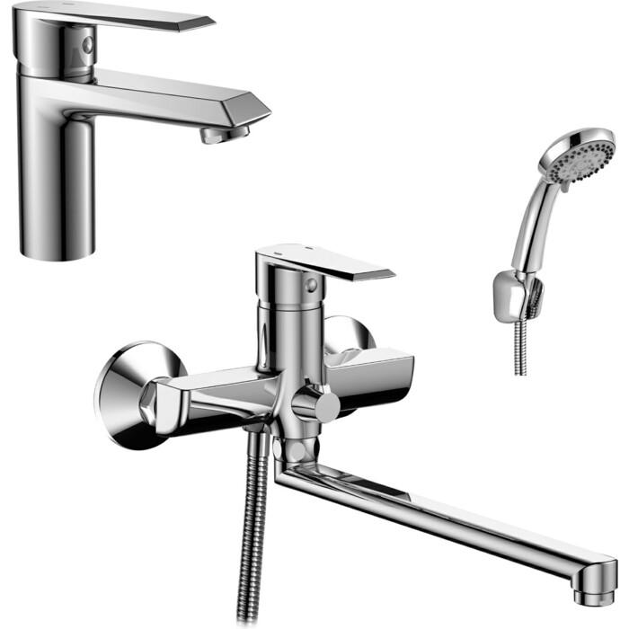 Комплект смесителей Rossinka Silvermix для раковины и ванны, с душем, хром (RS28-33, RS28-11)
