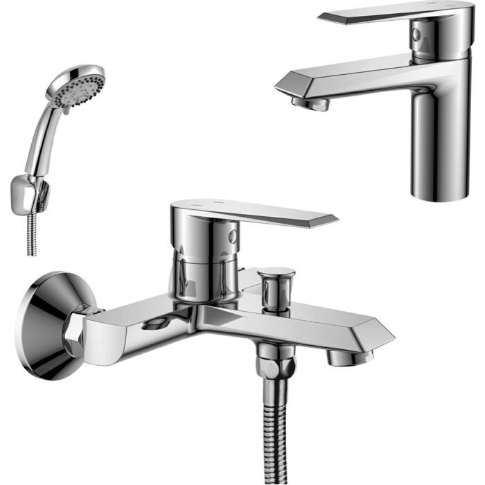 Комплект смесителей Rossinka Silvermix для раковины и ванны, с душем, хром (RS28-31, RS28-11)