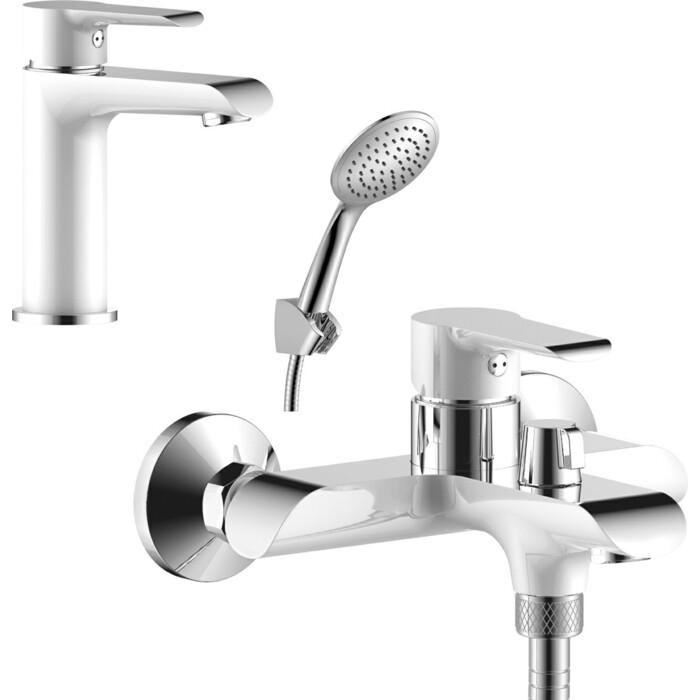 Комплект смесителей Rossinka Silvermix для раковины и ванны, с душем, белый/хром (W35-31, W35-12)