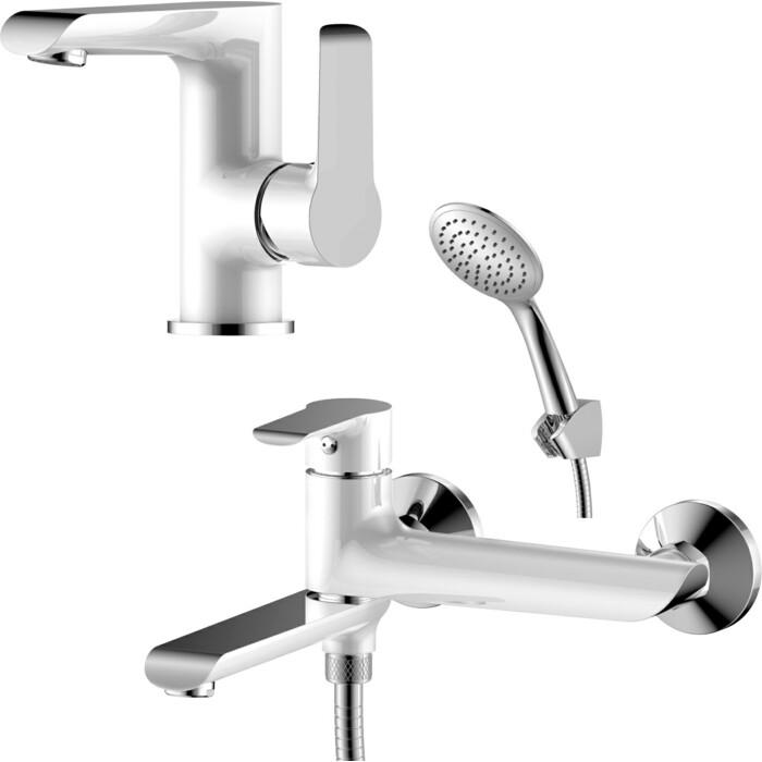 Комплект смесителей Rossinka Silvermix для раковины и ванны, с душем, хром (W35-33, W35-11)