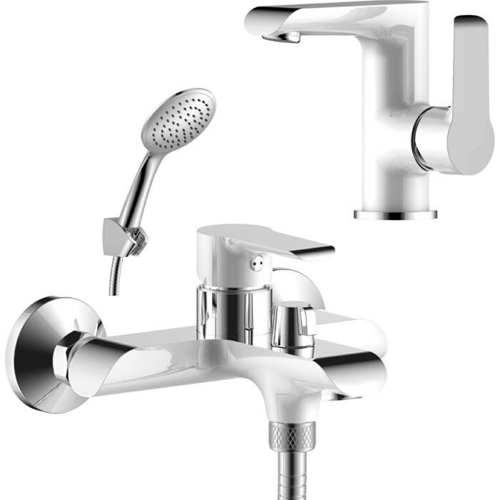 Комплект смесителей Rossinka Silvermix для раковины и ванны, с душем, белый/хром (W35-31, W35-11)