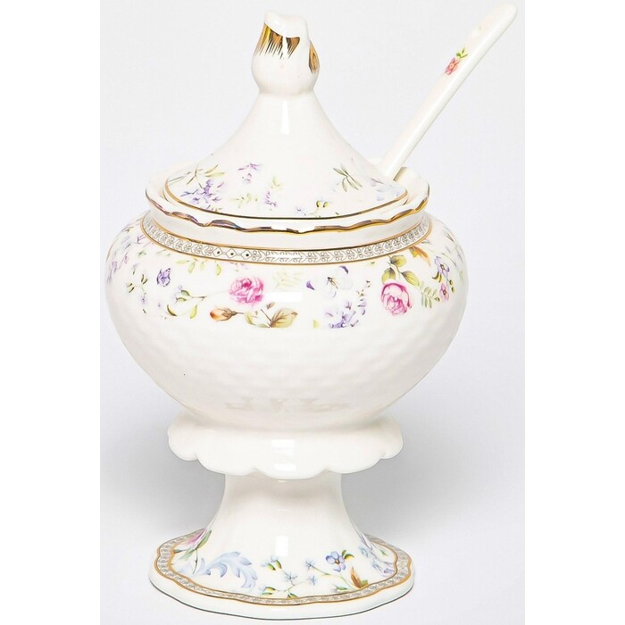 Сахарница Balsford эклат 300мл на ножке с ложкой new bone china (195-42025)