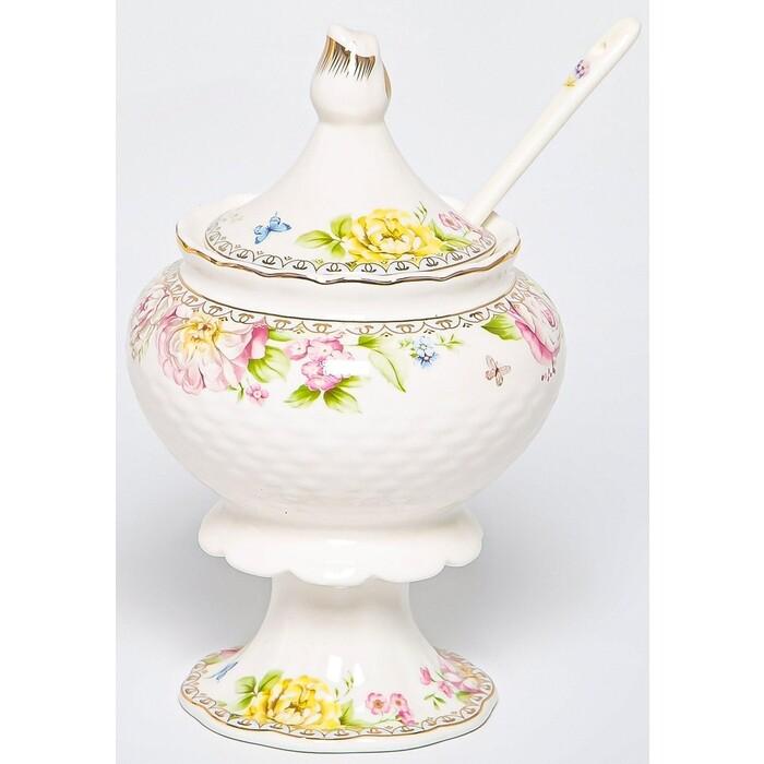 Сахарница Balsford мэридит 300мл на ножке с ложкой new bone china (196-42025)