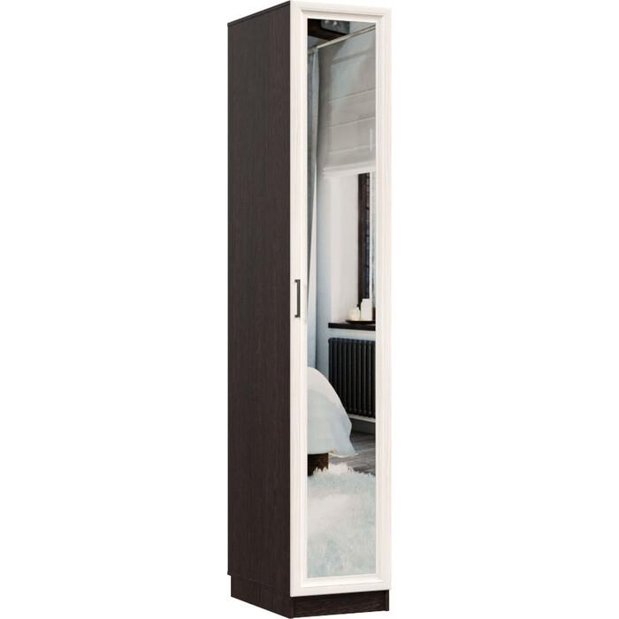 Распашной шкаф Классика 412 фасад зеркальный рамочный (каркас венге, каттхульт) Рам.412.400.2200.600.06.03