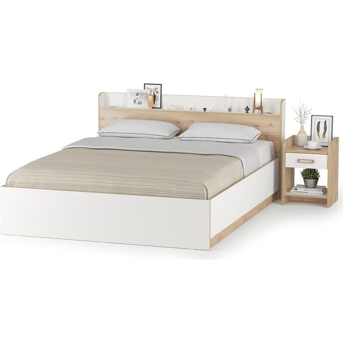 Модульная система для спальни Моби Веста 11.13 + подъемный ортопед + 13.76 гаскон пайн светлый/белый шагрень