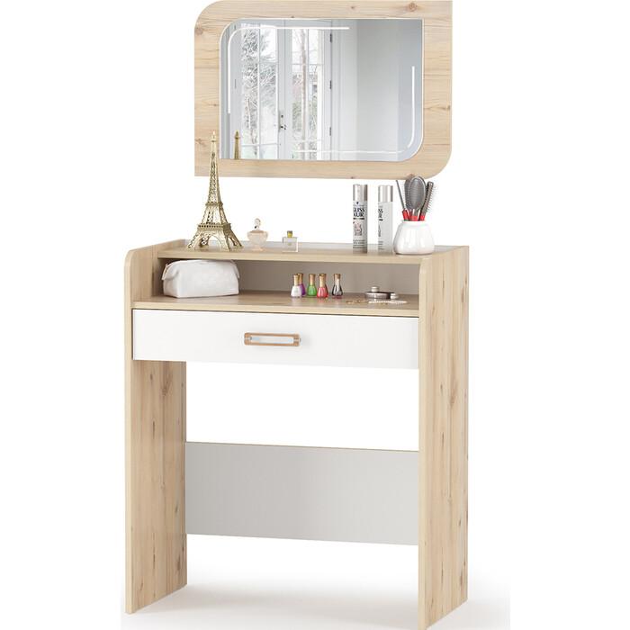 Стол туалетный + зеркало Моби Веста 12.47 + 03.239 гаскон пайн светлый/белый шагрень