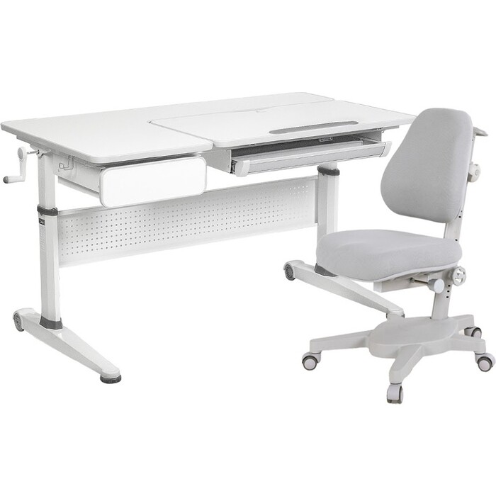 FunDesk Комплект парта Aster grey + кресло Solidago grey