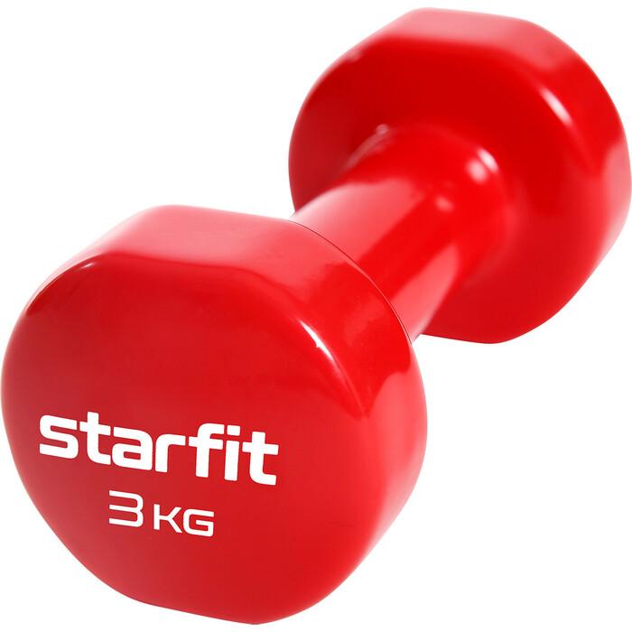 Гантель виниловая Starfit Core DB-101 3 кг, красный гантель виниловая 1 кг go do 1 кг красный
