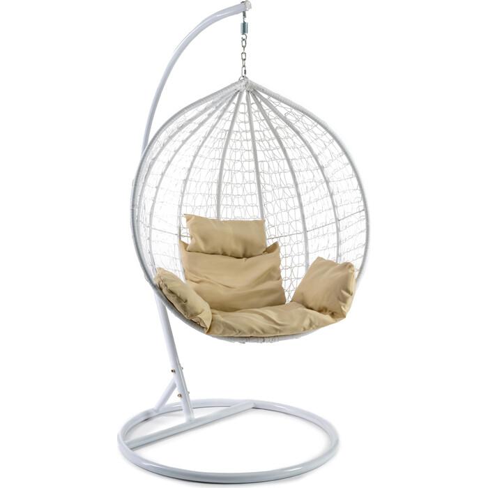 Кресло подвесное TetChair mod. SC-001 с подушкой металл/искусственный ротанг стойка: белая, корзина: белая