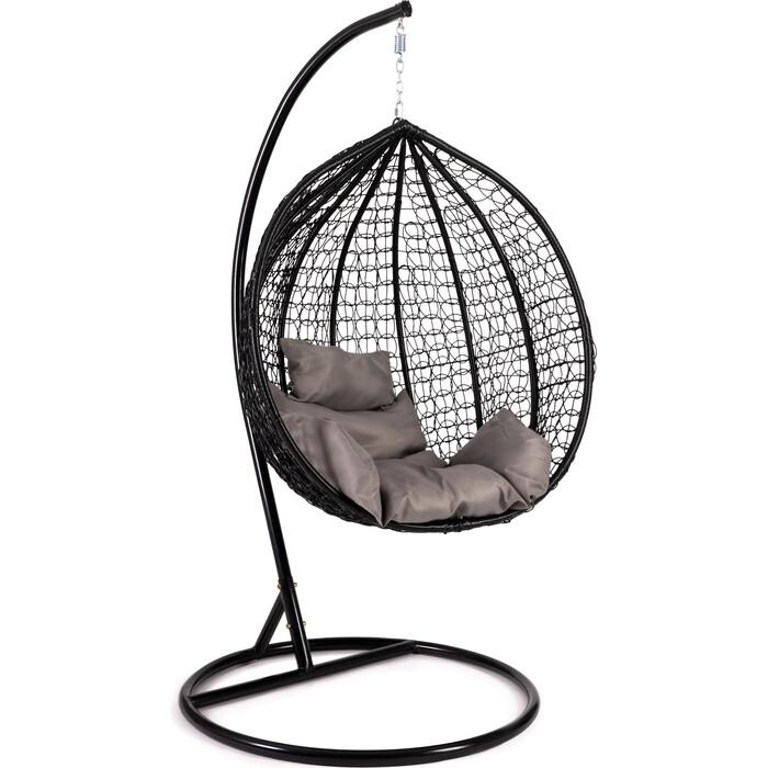 Кресло подвесное TetChair mod. SC-001 с подушкой металл/искусственный ротанг стойка: черная, корзина: черная