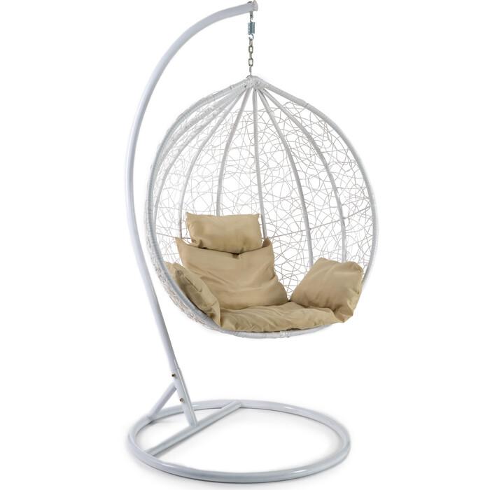 Кресло подвесное TetChair mod. SC-003 с подушкой металл/искусственный ротанг стойка: белая, корзина: белая