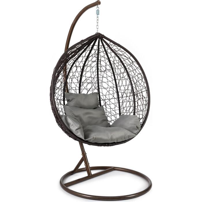 Кресло подвесное TetChair mod. SC-003 с подушкой металл/искусственный ротанг, стойка: медная, корзина: коричневая