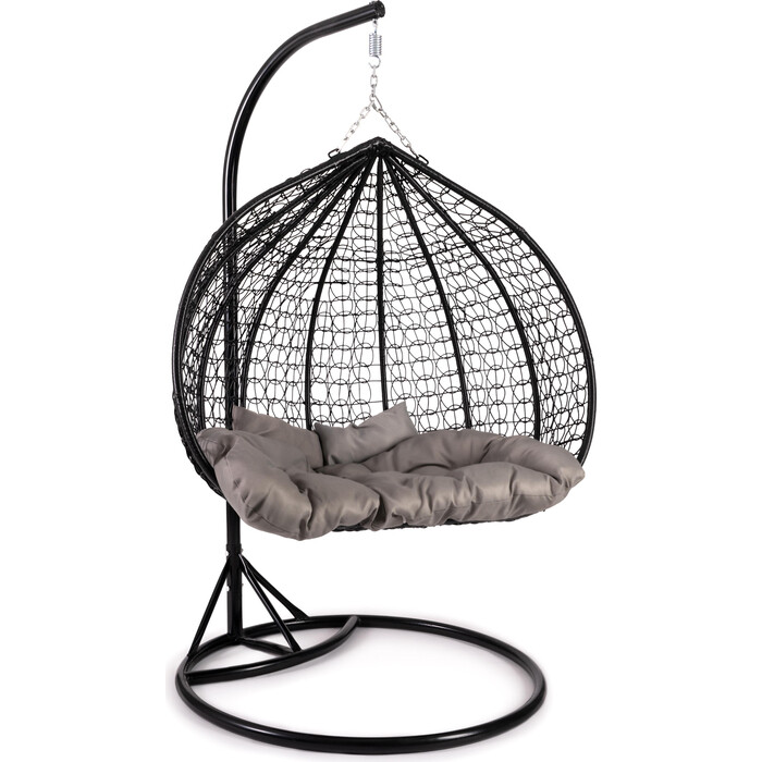 Кресло подвесное TetChair mod. SC-007 с подушкой металл/искусственный ротанг стойка: черная, корзина: черная