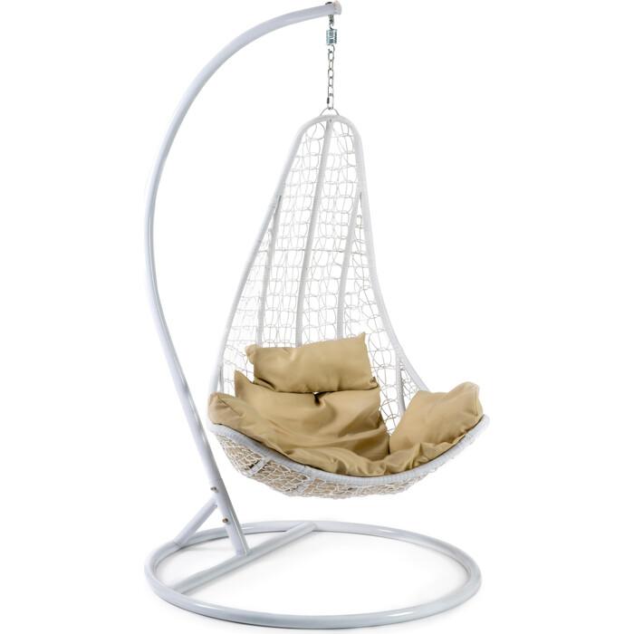 Кресло подвесное TetChair mod. SC-010 с подушкой металл/искусственный ротанг стойка: белая, корзина: белая