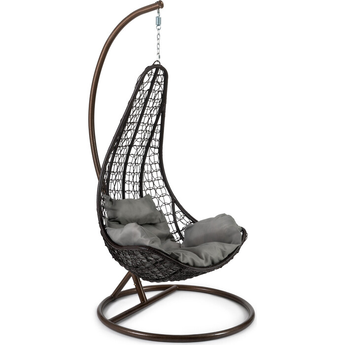 Кресло подвесное TetChair mod. SC-010 с подушкой металл/искусственный ротанг стойка: медная, корзина: коричневая
