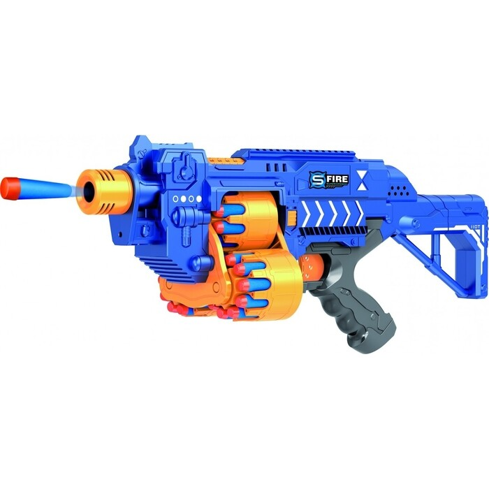 Автомат Le Neng Toys синий на батарейках с мягкими пулями - G2A