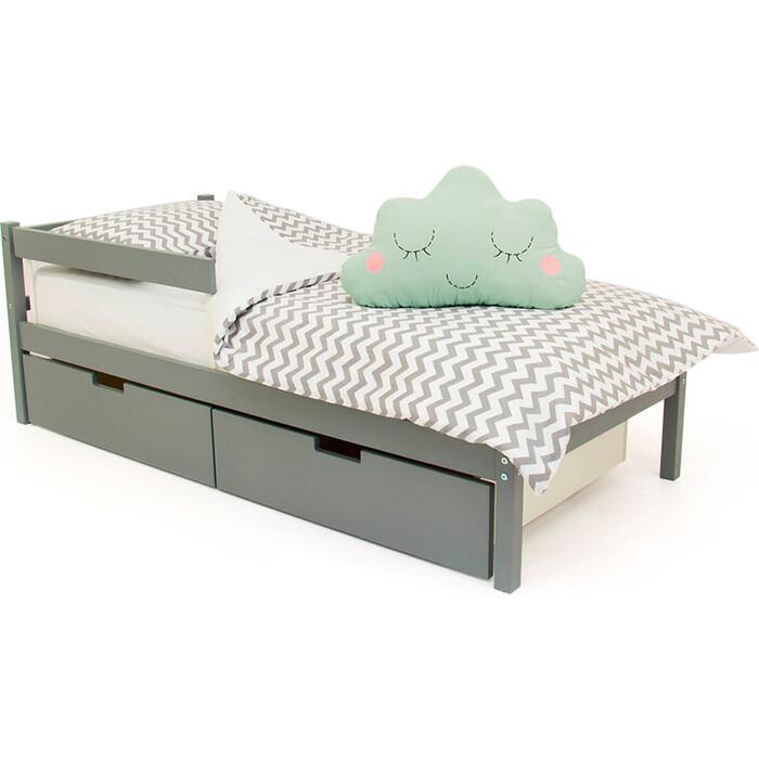 Детская кровать Бельмарко Svogen classic графит + ящики 2 шт бортик ограждение