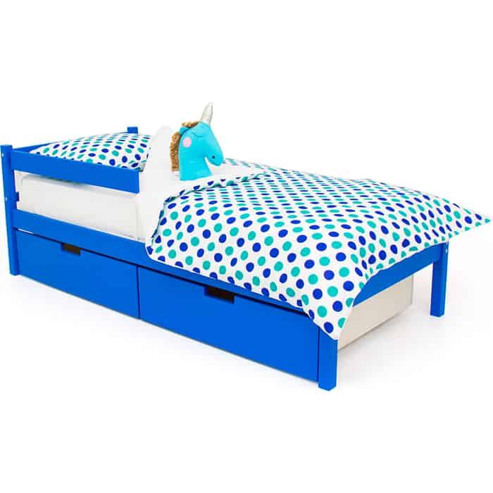 Детская кровать Бельмарко Svogen classic синий + ящики 2 шт бортик ограждение