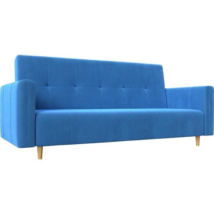 Прямой диван-книжка АртМебель Вест велюр голубой