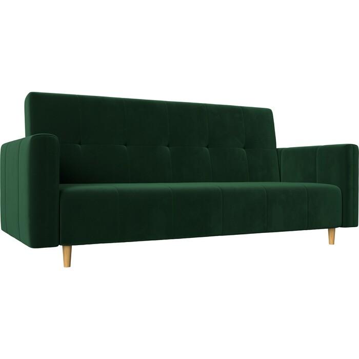 Прямой диван-книжка АртМебель Вест велюр зеленый