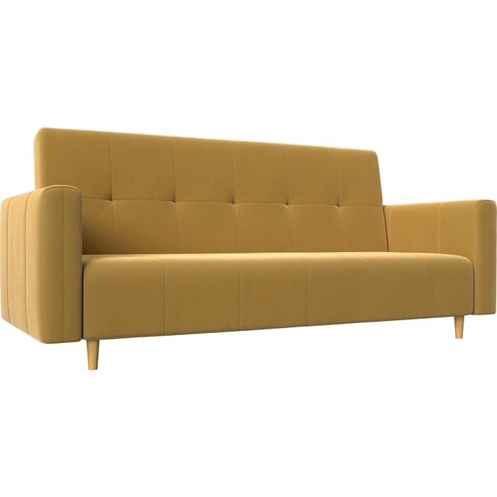 Прямой диван-книжка АртМебель Вест микровельвет желтый