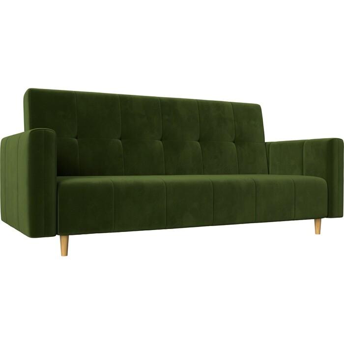 Прямой диван-книжка АртМебель Вест микровельвет зеленый