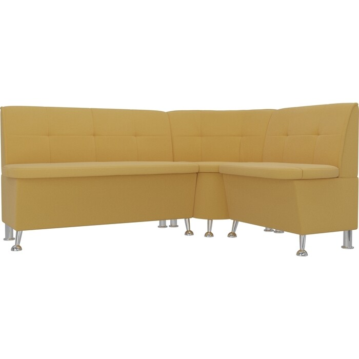 Кухонный угловой диван АртМебель Феникс микровельвет желтый правый угол