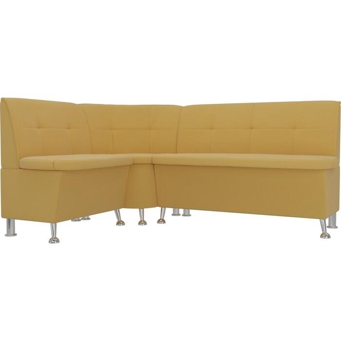 Кухонный угловой диван АртМебель Феникс микровельвет желтый левый угол